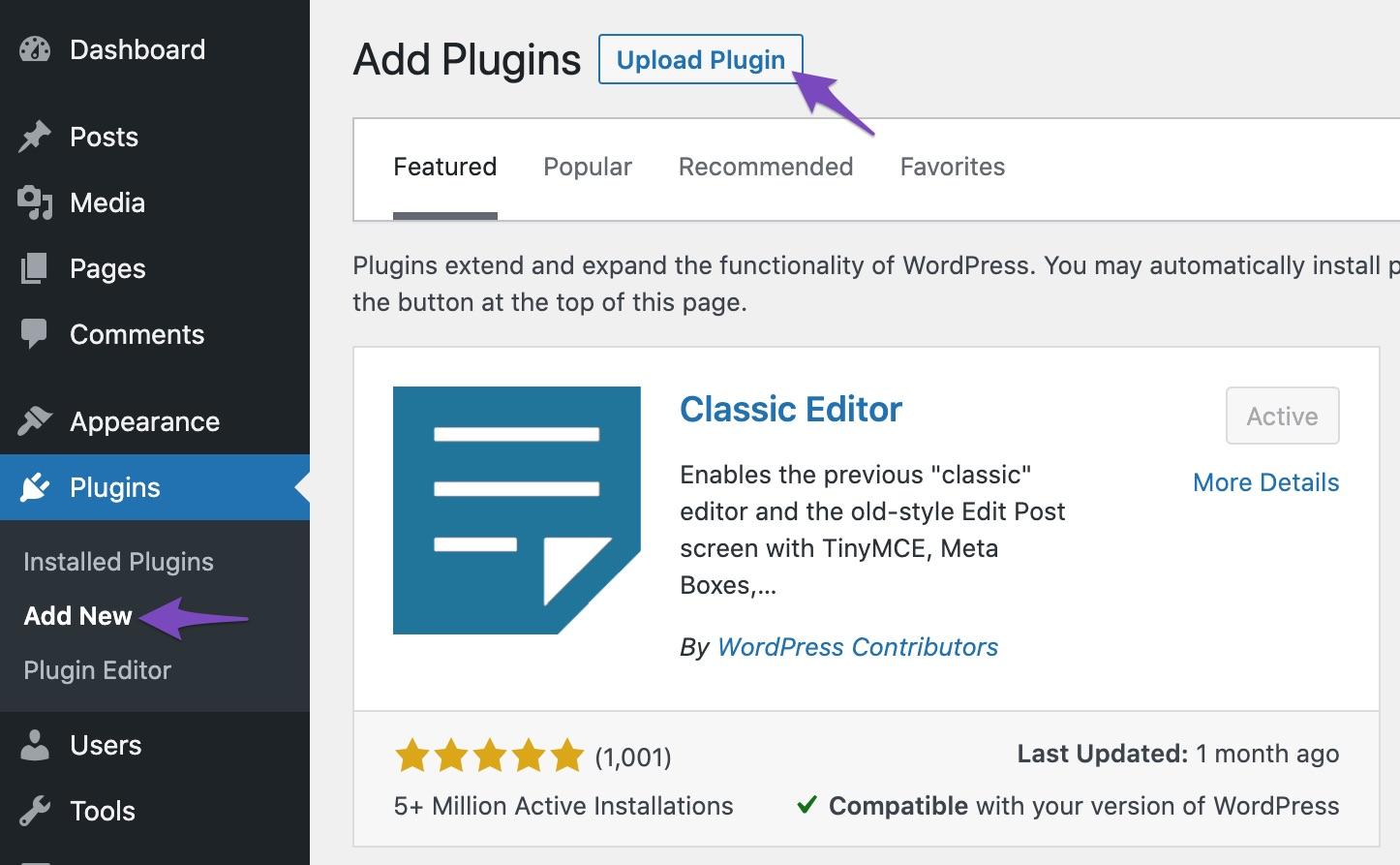 Upload plugin on Add New plugin